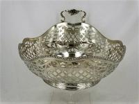 Grote zilveren Broodmand met parelrand en grepen, 35,5 cm